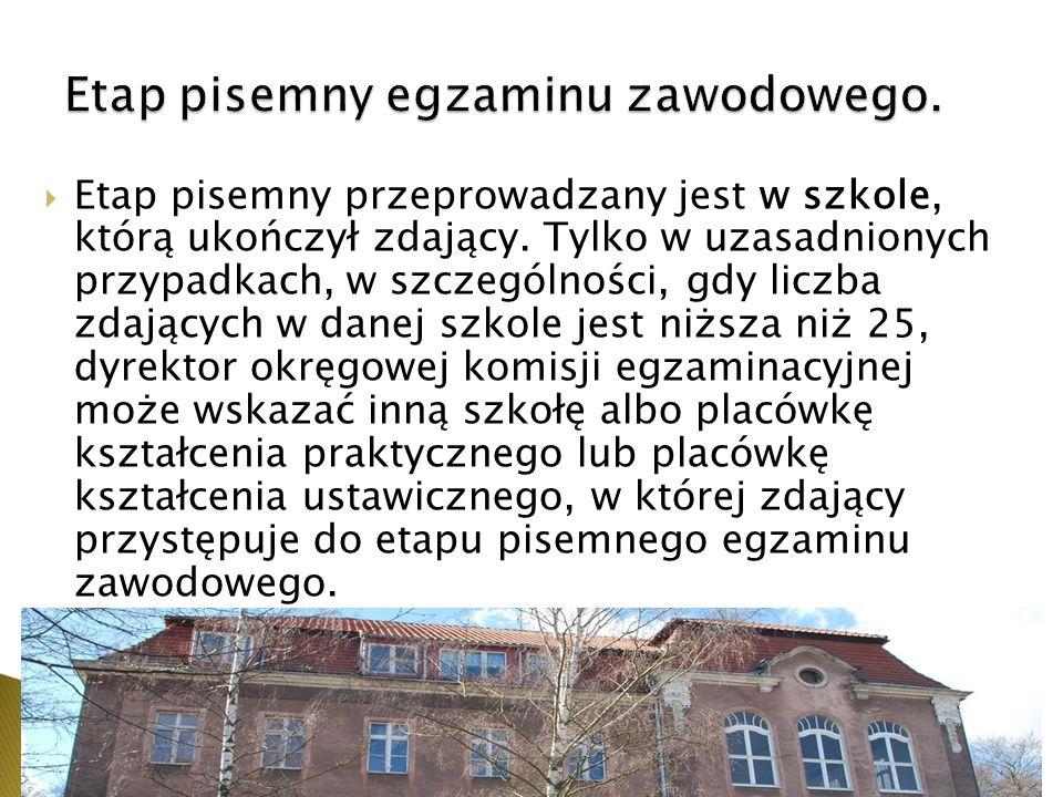 Etap pisemny przeprowadzany jest w szkole, którą ukończył zdający.
