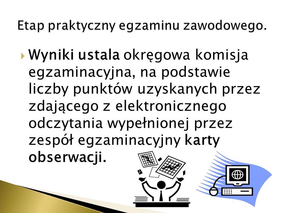 Wyniki ustala okręgowa komisja egzaminacyjna, na podstawie liczby punktów uzyskanych przez zdającego z elektronicznego odczytania wypełnionej przez zespół egzaminacyjny karty obserwacji.