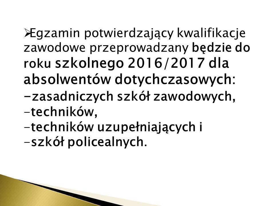 Egzamin potwierdzający kwalifikacje zawodowe przeprowadzany będzie do roku szkolnego 2016/2017 dla absolwentów dotychczasowych: - zasadniczych szkół zawodowych, -techników, -techników uzupełniających i -szkół policealnych.
