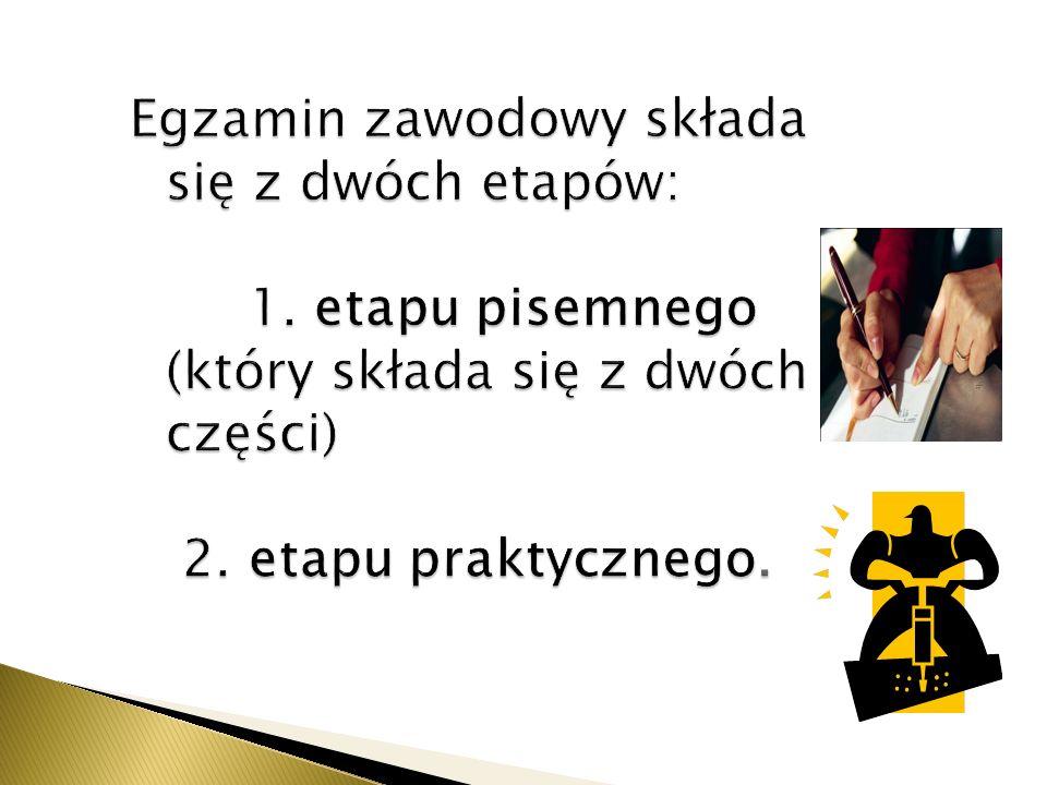 Egzamin zawodowy składa się z dwóch etapów: 1. etapu pisemnego (który składa się z dwóch części) 2.