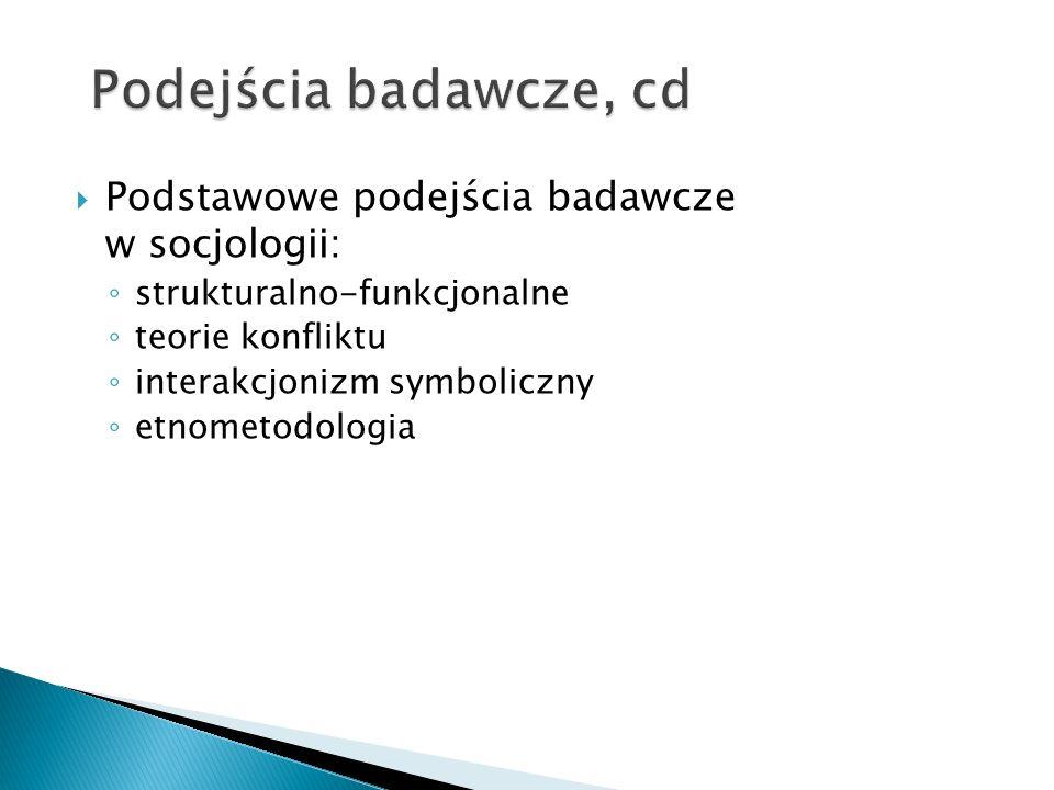 Podstawowe podejścia badawcze w socjologii: strukturalno-funkcjonalne teorie konfliktu interakcjonizm symboliczny etnometodologia
