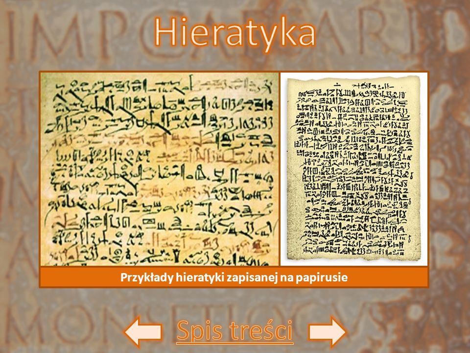 Przykłady hieratyki zapisanej na papirusie