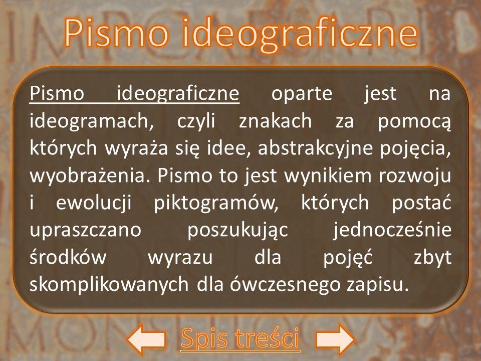 Pismo ideograficzne oparte jest na ideogramach, czyli znakach za pomocą których wyraża się idee, abstrakcyjne pojęcia, wyobrażenia. Pismo to jest wyni