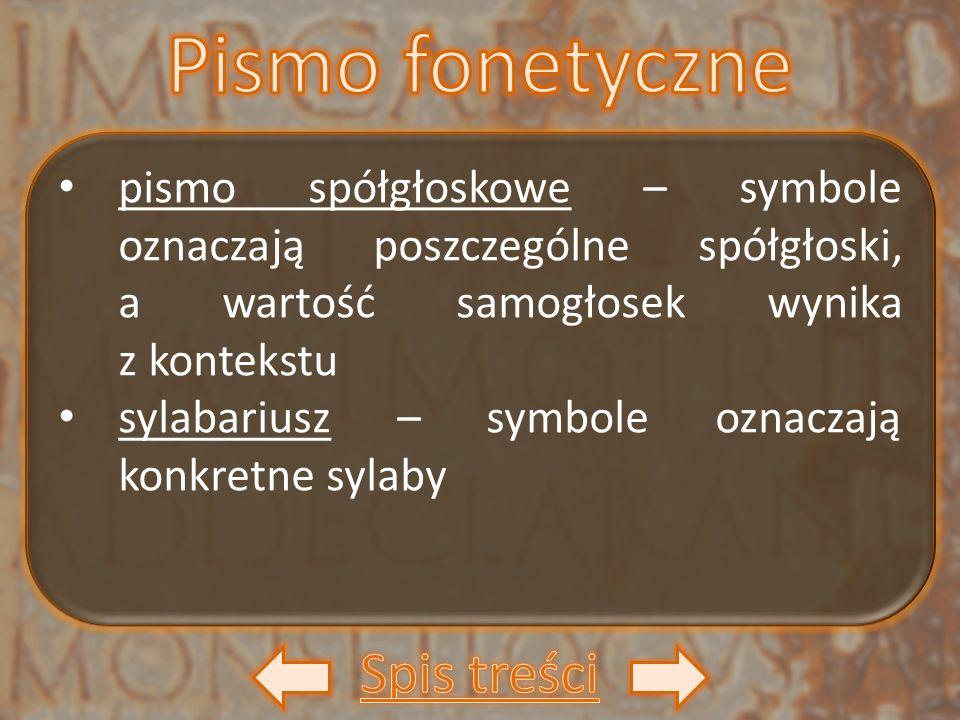 pismo spółgłoskowe – symbole oznaczają poszczególne spółgłoski, a wartość samogłosek wynika z kontekstu sylabariusz – symbole oznaczają konkretne syla