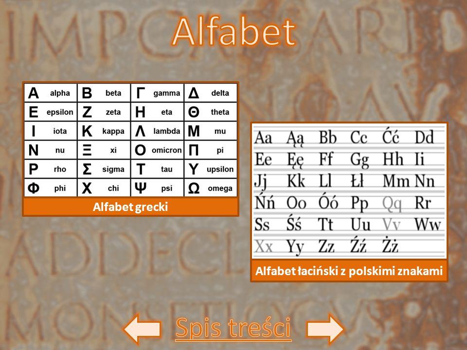 Alfabet grecki Alfabet łaciński z polskimi znakami
