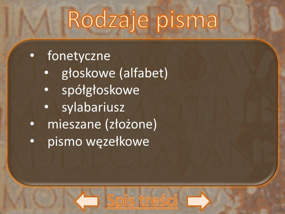 fonetyczne głoskowe (alfabet) spółgłoskowe sylabariusz mieszane (złożone) pismo węzełkowe