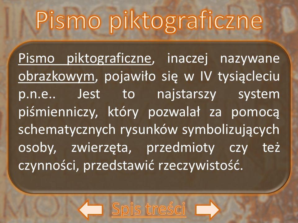 Pismo piktograficzne, inaczej nazywane obrazkowym, pojawiło się w IV tysiącleciu p.n.e.. Jest to najstarszy system piśmienniczy, który pozwalał za pom
