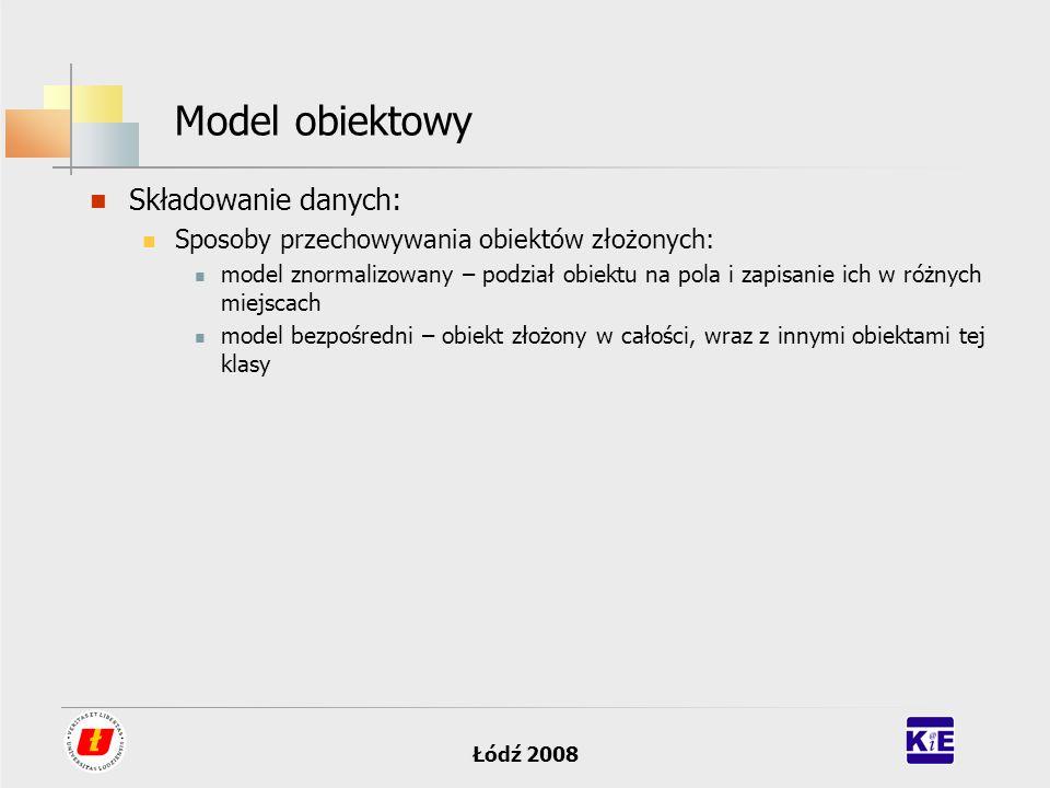 Łódź 2008 Model obiektowy Składowanie danych: Sposoby przechowywania obiektów złożonych: model znormalizowany – podział obiektu na pola i zapisanie ic