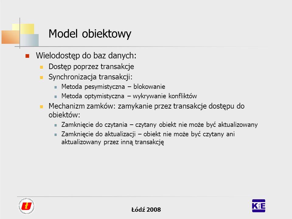 Łódź 2008 Model obiektowy Wielodostęp do baz danych: Dostęp poprzez transakcje Synchronizacja transakcji: Metoda pesymistyczna – blokowanie Metoda opt