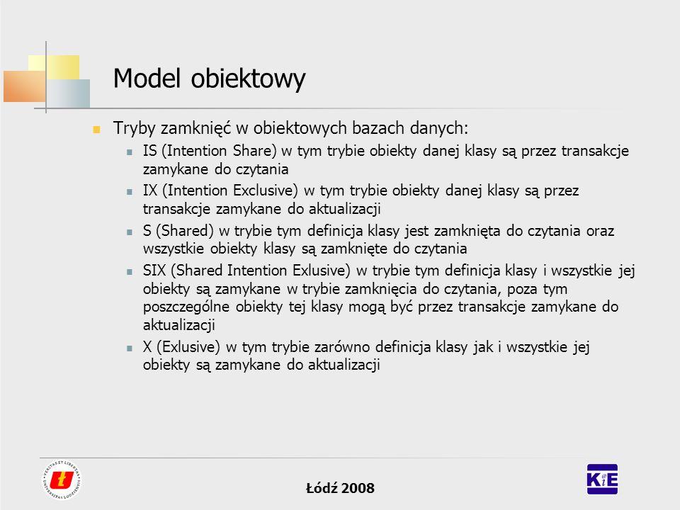 Łódź 2008 Model obiektowy Tryby zamknięć w obiektowych bazach danych: IS (Intention Share) w tym trybie obiekty danej klasy są przez transakcje zamyka