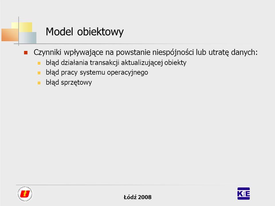 Łódź 2008 Model obiektowy Czynniki wpływające na powstanie niespójności lub utratę danych: błąd działania transakcji aktualizującej obiekty błąd pracy