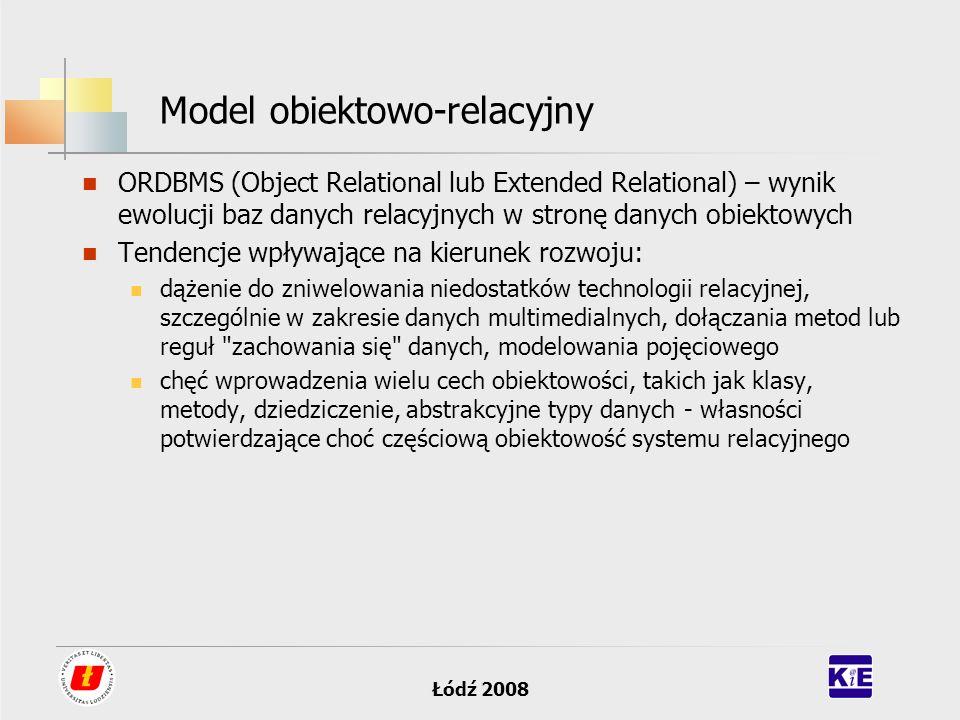 Łódź 2008 Model obiektowo-relacyjny ORDBMS (Object Relational lub Extended Relational) – wynik ewolucji baz danych relacyjnych w stronę danych obiekto