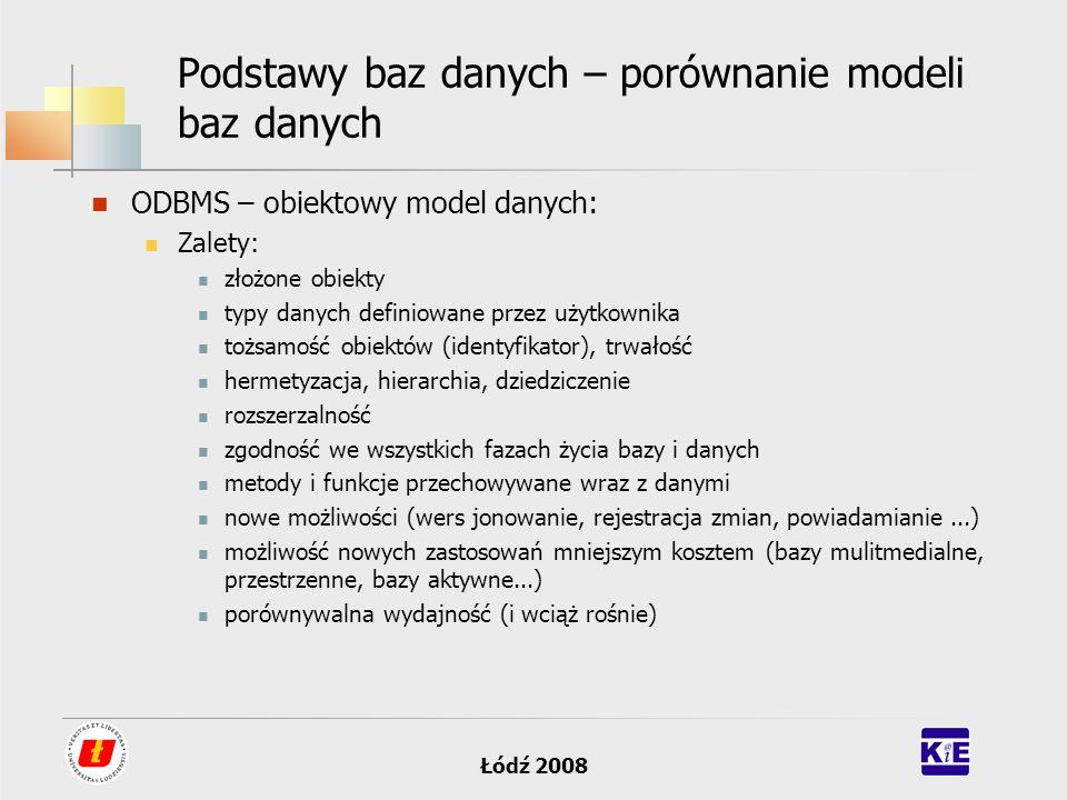 Łódź 2008 Podstawy baz danych – porównanie modeli baz danych ODBMS – obiektowy model danych: Zalety: złożone obiekty typy danych definiowane przez uży