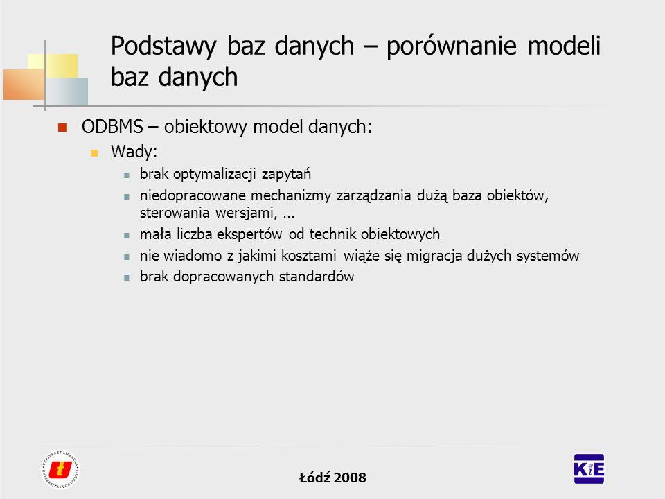 Łódź 2008 Podstawy baz danych – porównanie modeli baz danych ODBMS – obiektowy model danych: Wady: brak optymalizacji zapytań niedopracowane mechanizm