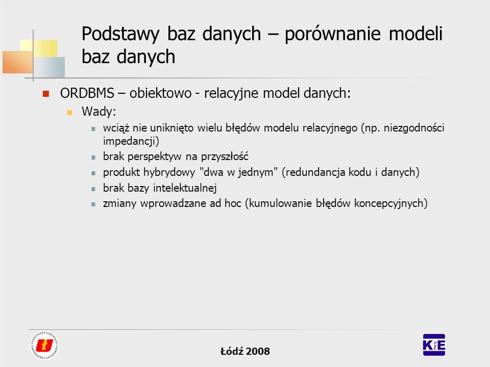 Łódź 2008 Podstawy baz danych – porównanie modeli baz danych ORDBMS – obiektowo - relacyjne model danych: Wady: wciąż nie uniknięto wielu błędów model