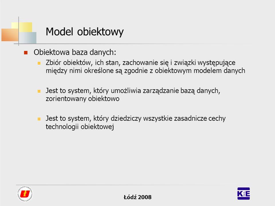 Łódź 2008 Model obiektowy Obiektowa baza danych: Zbiór obiektów, ich stan, zachowanie się i związki występujące między nimi określone są zgodnie z obi
