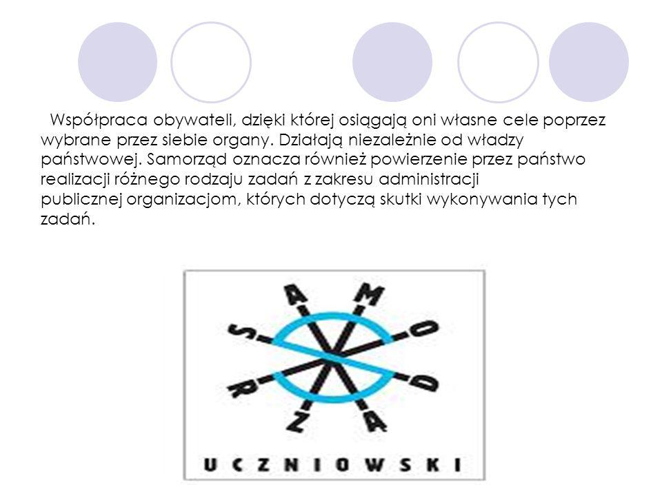 Współpraca obywateli, dzięki której osiągają oni własne cele poprzez wybrane przez siebie organy. Działają niezależnie od władzy państwowej. Samorząd