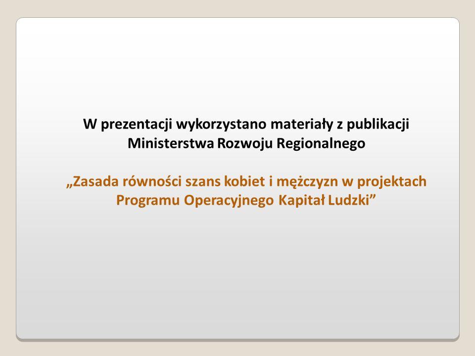 W prezentacji wykorzystano materiały z publikacji Ministerstwa Rozwoju Regionalnego Zasada równości szans kobiet i mężczyzn w projektach Programu Oper
