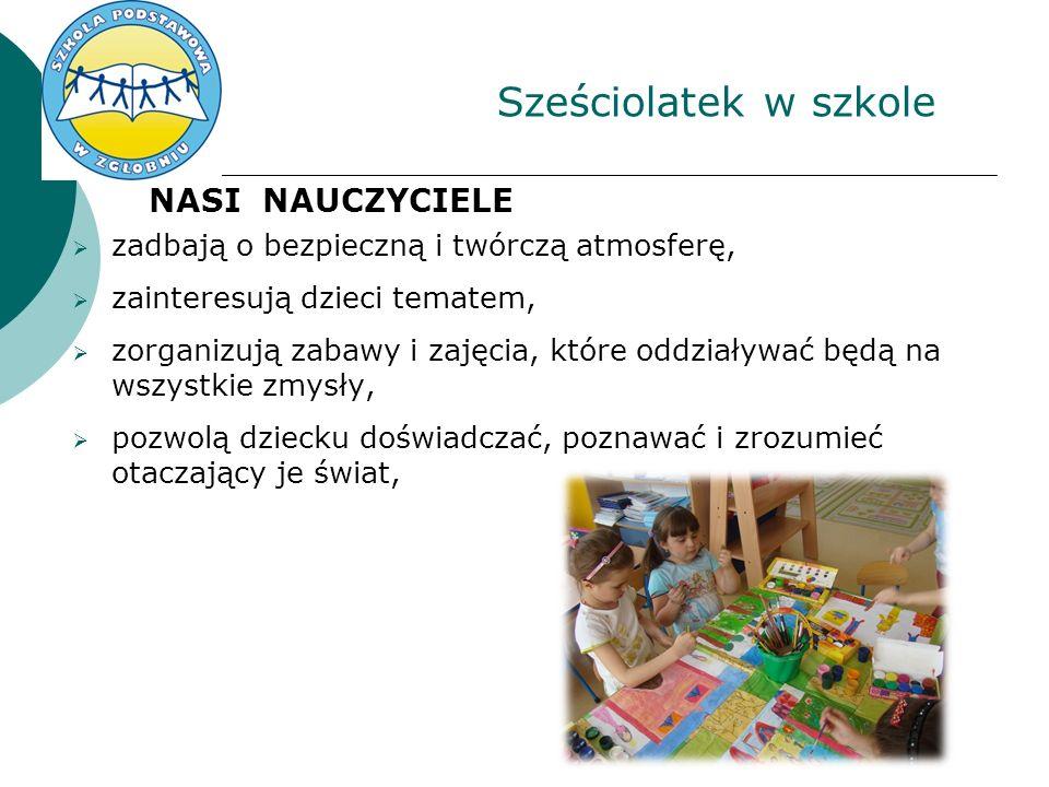 Sześciolatek w szkole NASI NAUCZYCIELE zadbają o bezpieczną i twórczą atmosferę, zainteresują dzieci tematem, zorganizują zabawy i zajęcia, które oddziaływać będą na wszystkie zmysły, pozwolą dziecku doświadczać, poznawać i zrozumieć otaczający je świat,