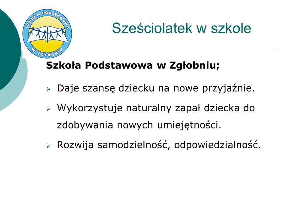 Sześciolatek w szkole Szkoła Podstawowa w Zgłobniu; Daje szansę dziecku na nowe przyjaźnie.