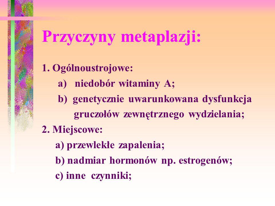 Przyczyny metaplazji: 1. Ogólnoustrojowe: a) niedobór witaminy A; b) genetycznie uwarunkowana dysfunkcja gruczołów zewnętrznego wydzielania; 2. Miejsc