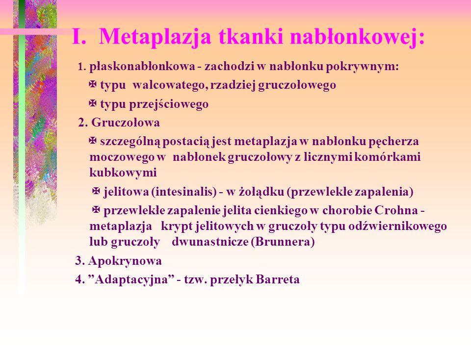 I. Metaplazja tkanki nabłonkowej: 1. płaskonabłonkowa - zachodzi w nabłonku pokrywnym: typu walcowatego, rzadziej gruczołowego typu przejściowego 2. G