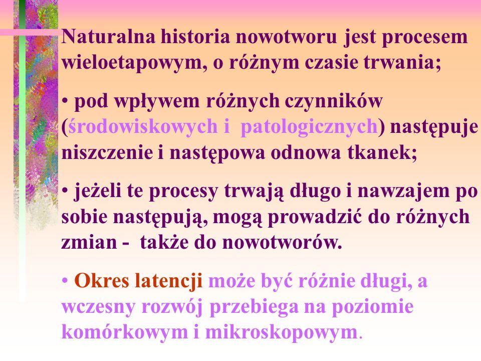 Naturalna historia raka: 1.Tk. normalna stan przedrakowy ca in situ rak (carcinoma) 2.