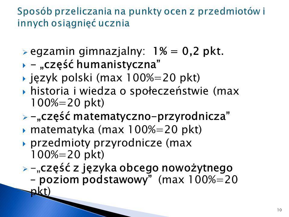 egzamin gimnazjalny: 1% = 0,2 pkt. - część humanistyczna język polski (max 100%=20 pkt) historia i wiedza o społeczeństwie (max 100%=20 pkt) -część ma