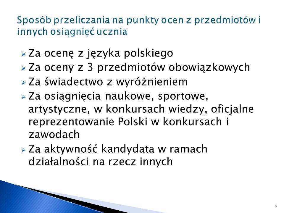 liczbowo określona ocena z języka polskiego x 2 ( max 12 pkt.) liczbowo określona ocena z pierwszego przedmiotu obowiązkowego wskazanego przez szkolną komisję rekrutacyjno-kwalifikacyjną x 2 (z wyłączeniem języka polskiego) ( max 12 pkt.) liczbowo określona ocena z drugiego przedmiotu obowiązkowego wskazanego przez szkolną komisję rekrutacyjno-kwalifikacyjną x2 (z wyłączeniem języka polskiego) ( max 12 pkt.) liczbowo określona ocena z trzeciego przedmiotu obowiązkowego wskazanego przez szkolną komisję rekrutacyjno-kwalifikacyjną x2 (z wyłączeniem języka polskiego) ( max 12 pkt.) 6