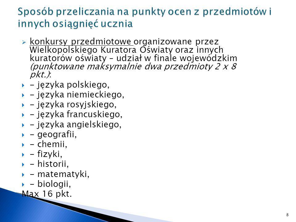 konkursy przedmiotowe organizowane przez Wielkopolskiego Kuratora Oświaty oraz innych kuratorów oświaty – udział w finale wojewódzkim (punktowane maks