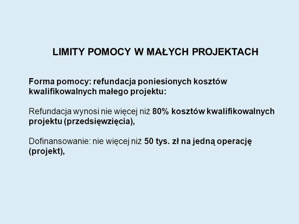 WARUNKI Limit pomocy na beneficjenta: 200 tys.zł.