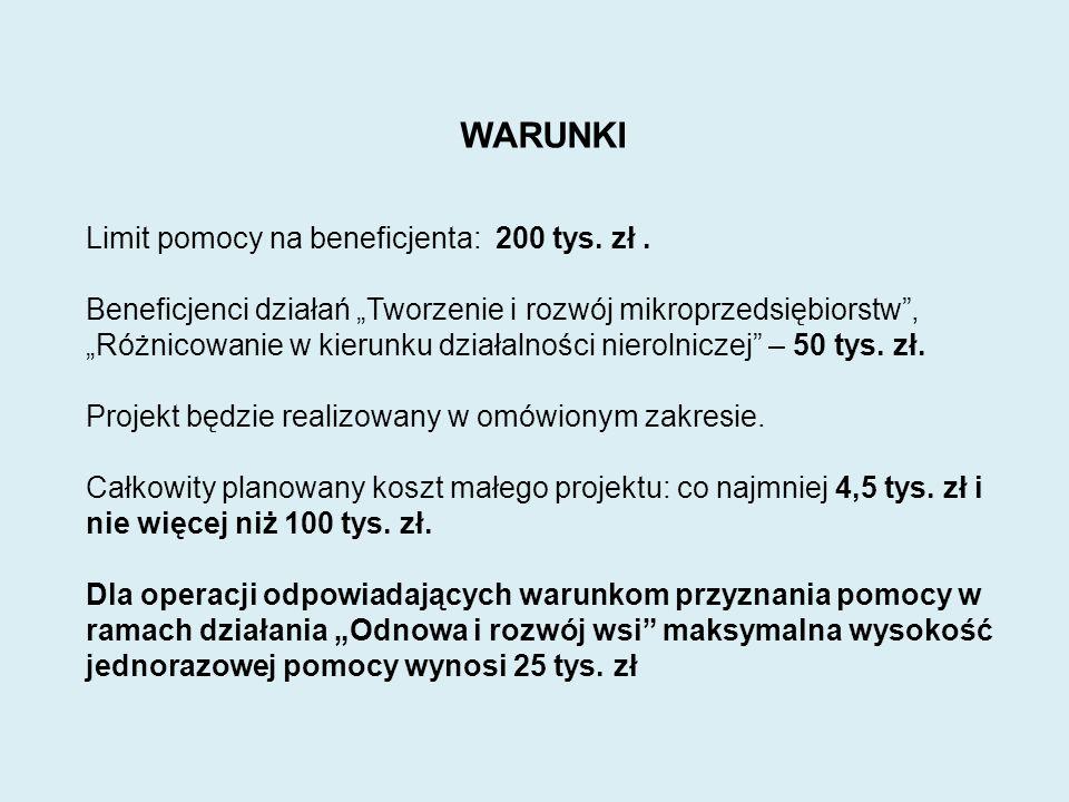 WARUNKI Limit pomocy na beneficjenta: 200 tys. zł.