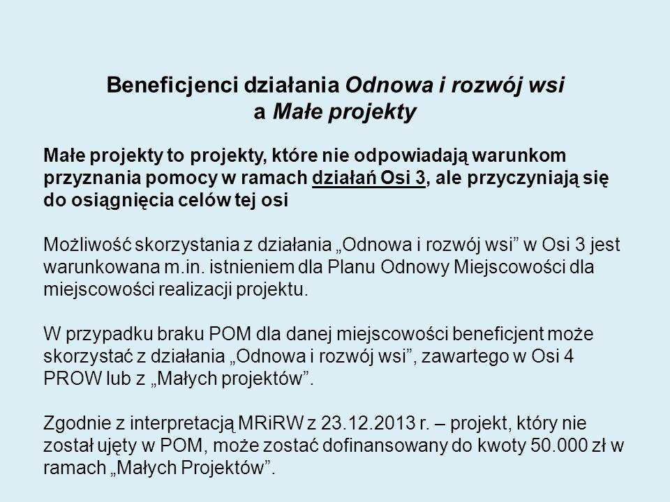 Pomoc może być przyznana, jeżeli mały projekt: 1) Nie będzie finansowany z udziałem innych środków publicznych, z wyłączeniem przypadku współfinansowania: - z Funduszu Kościelnego - ze środków własnych jednostek samorządu terytorialnego 2) Będzie realizowany w nie więcej niż dwóch etapach, jego zakończenie i złożenie wniosku o płatność ostateczną będącą refundacją kosztów kwalifikowanych wypłacaną po zrealizowaniu całego małego projektu nastąpi w terminie 2 lat od zawarcia umowy przyznania pomocy, lecz nie później niż do dnia 31 grudnia 2014; 3) Płatność ostateczna obejmować będzie nie mniej niż 25% łącznej planowanej kwoty pomocy.