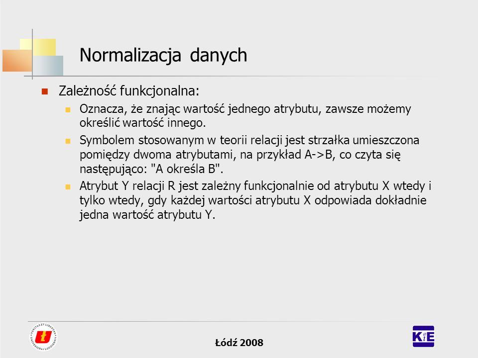 Łódź 2008 Normalizacja danych Zależność funkcjonalna: Oznacza, że znając wartość jednego atrybutu, zawsze możemy określić wartość innego. Symbolem sto