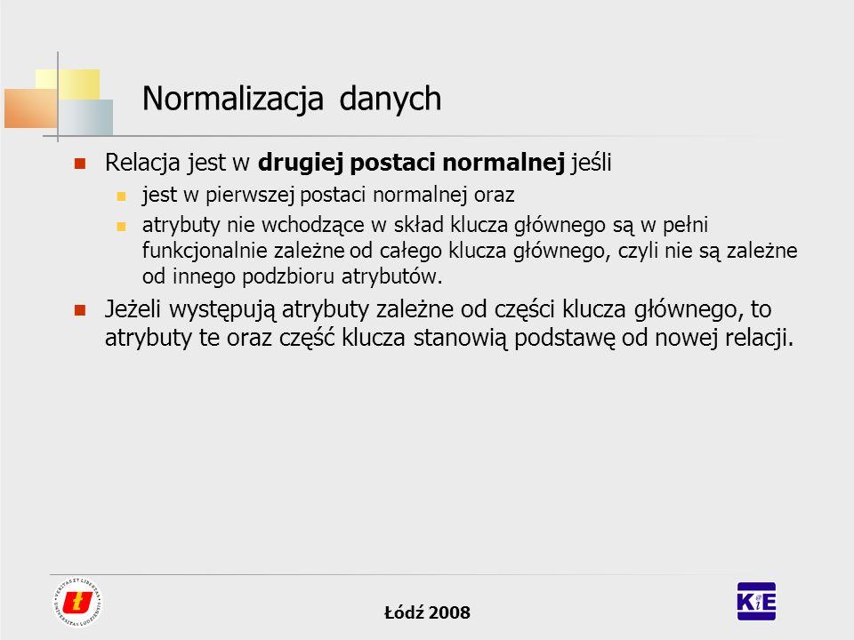 Łódź 2008 Normalizacja danych Relacja jest w drugiej postaci normalnej jeśli jest w pierwszej postaci normalnej oraz atrybuty nie wchodzące w skład kl