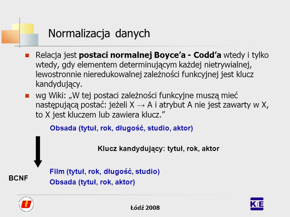 Łódź 2008 Normalizacja danych Relacja jest postaci normalnej Boycea - Codda wtedy i tylko wtedy, gdy elementem determinującym każdej nietrywialnej, le