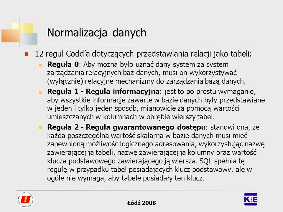 Łódź 2008 Normalizacja danych 12 reguł Codda dotyczących przedstawiania relacji jako tabeli: Reguła 0: Aby można było uznać dany system za system zarz