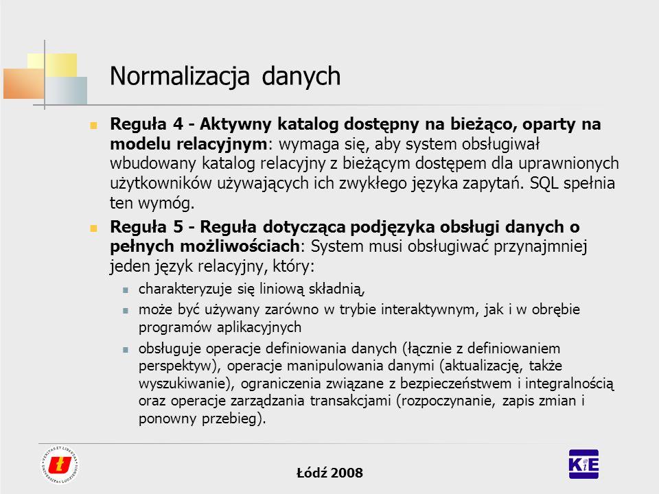 Łódź 2008 Normalizacja danych Reguła 4 - Aktywny katalog dostępny na bieżąco, oparty na modelu relacyjnym: wymaga się, aby system obsługiwał wbudowany