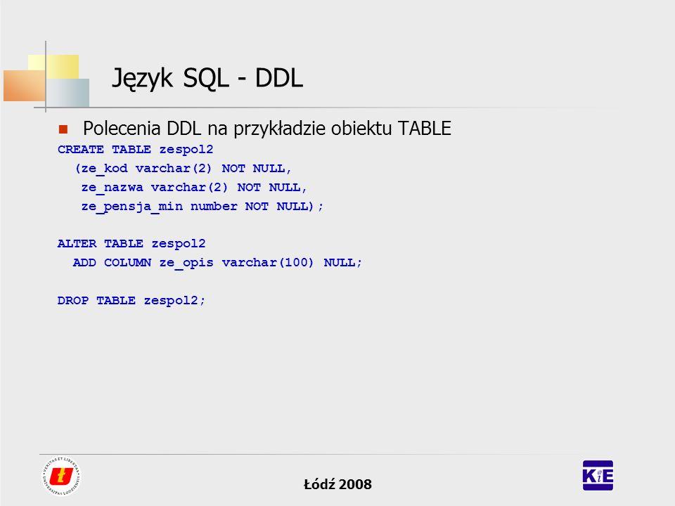 Łódź 2008 Język SQL - DDL Polecenia DDL na przykładzie obiektu TABLE CREATE TABLE zespol2 (ze_kod varchar(2) NOT NULL, ze_nazwa varchar(2) NOT NULL, z