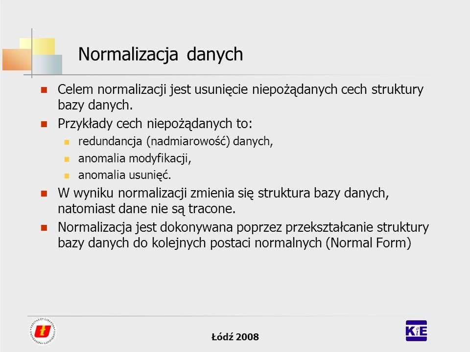 Łódź 2008 Normalizacja danych Celem normalizacji jest usunięcie niepożądanych cech struktury bazy danych. Przykłady cech niepożądanych to: redundancja