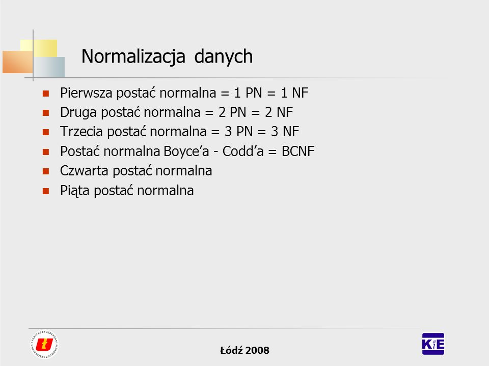 Łódź 2008 Normalizacja danych Pierwsza postać normalna = 1 PN = 1 NF Druga postać normalna = 2 PN = 2 NF Trzecia postać normalna = 3 PN = 3 NF Postać