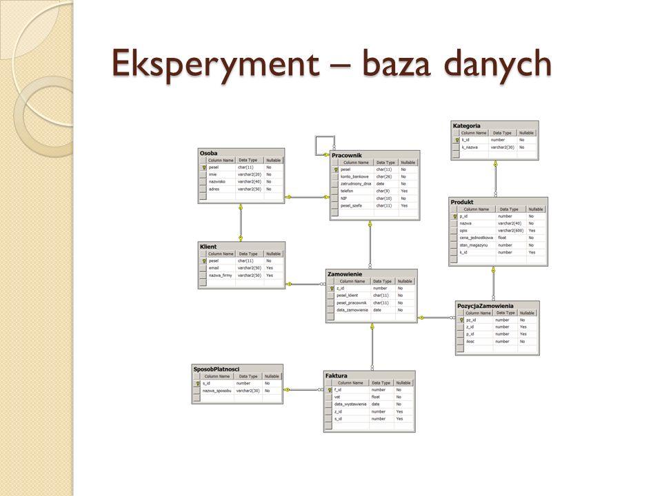 Eksperyment – baza danych