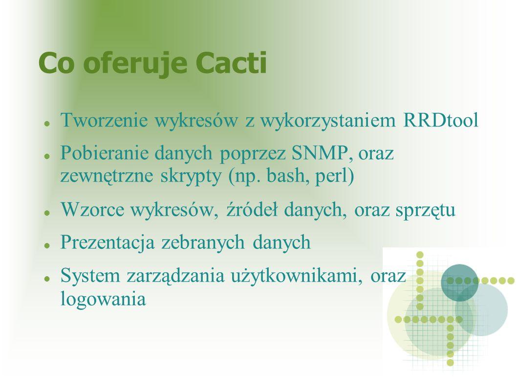 Co oferuje Cacti Tworzenie wykresów z wykorzystaniem RRDtool Pobieranie danych poprzez SNMP, oraz zewnętrzne skrypty (np. bash, perl) Wzorce wykresów,
