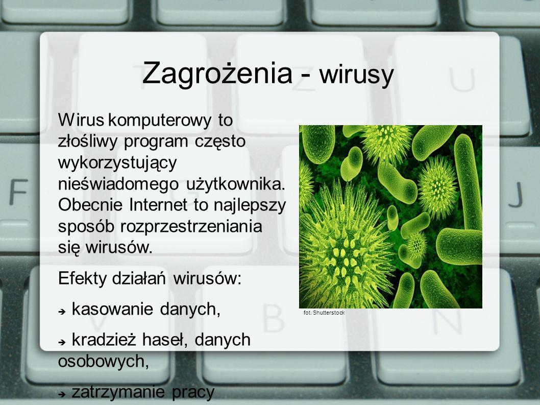 Zagrożenia - wirusy Wirus komputerowy to złośliwy program często wykorzystujący nieświadomego użytkownika. Obecnie Internet to najlepszy sposób rozprz