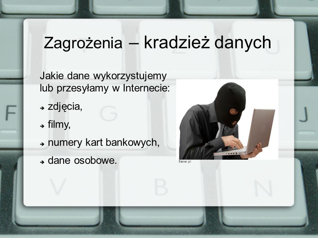 Zagrożenia – kradzież danych Jakie dane wykorzystujemy lub przesyłamy w Internecie: zdjęcia, filmy, numery kart bankowych, dane osobowe. flaker.pl