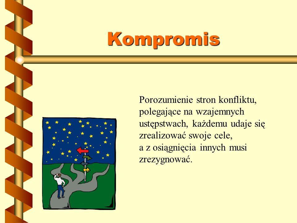 Kompromis Porozumienie stron konfliktu, polegające na wzajemnych ustępstwach, każdemu udaje się zrealizować swoje cele, a z osiągnięcia innych musi zr