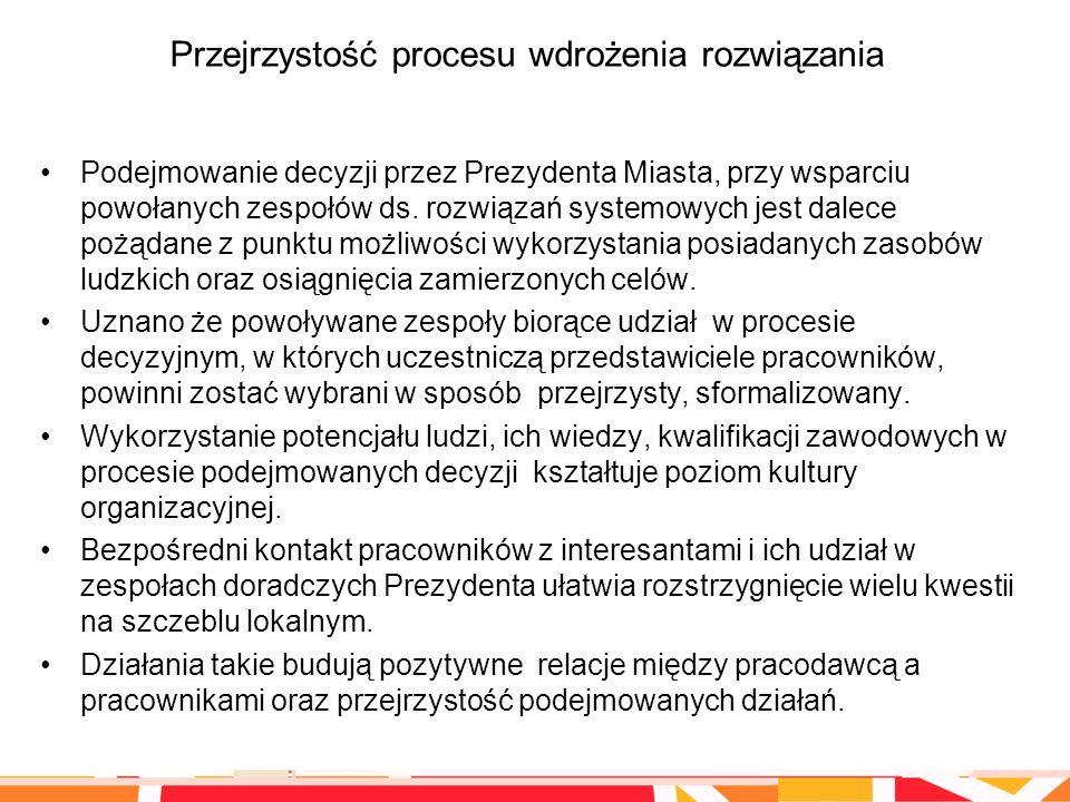 Przejrzystość procesu wdrożenia rozwiązania Podejmowanie decyzji przez Prezydenta Miasta, przy wsparciu powołanych zespołów ds. rozwiązań systemowych