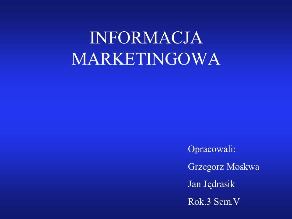 INFORMACJA MARKETINGOWA Opracowali: Grzegorz Moskwa Jan Jędrasik Rok.3 Sem.V