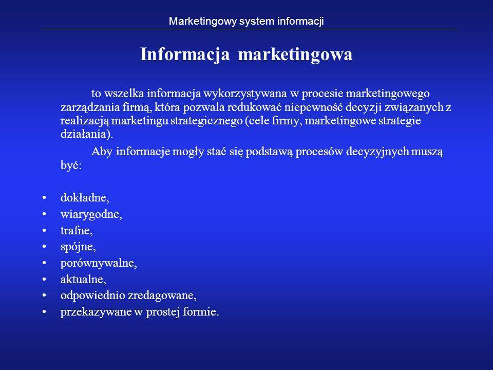 Marketingowy system informacji Informacja marketingowa to wszelka informacja wykorzystywana w procesie marketingowego zarządzania firmą, która pozwala
