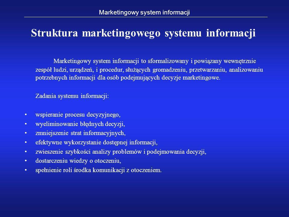 Marketingowy system informacji to sformalizowany i powiązany wewnętrznie zespół ludzi, urządzeń, i procedur, służących gromadzeniu, przetwarzaniu, ana